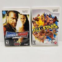 2 Game Wii Lot-WWE All Stars(CIB)& Smack Down Vs Raw 2009-Nintendo Wii-Tested