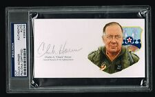 Charles Chuck Horner Autographe Signé USAF Général Coupe de Litho PSA Slabbed