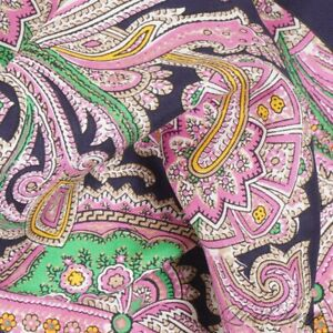 Polo Ralph Lauren Made in Italy Navy Pink Green Paisley Silk Pocket Square ICON