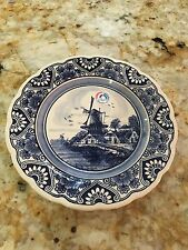 Delft Blue HAND PAINTED Windmill Holland Plate