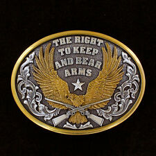 KEEP & BEAR ARMS ~Silver Western Belt Buckle~ Silver & Bronze USA Eagle 37117