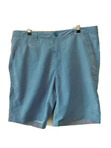 NWOT TRUE NORTH Outdoor Living Shorts Fine Gingham Blue Check Size 36
