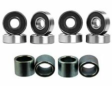 Brand New 8 pcs of Abec 7 Skateboard Bearings Set Color Black + 4pcs Spacers
