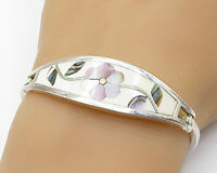 925 Sterling Silver - Vintage Mother Of Pearl & Abalone Cuff Bracelet - B6995