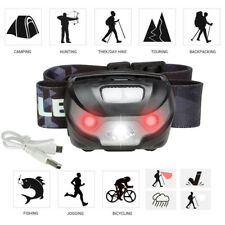 LED Headlamp Flashlight Rechargeable Head light Torch With USB Cable Red Light
