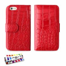 ETUI A RABAT iPHONE 4 4S CROCO CHIC ROUGE ECO-CUIR (PU)
