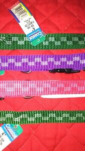 NYLON DOG LEASH or ADJUSTABLE COLLAR, MADE IN U.S.A., CHECKERED ASST. COLORS