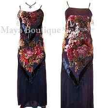 Dress Gown Black Silk Burnout Velvet Beaded Victorian Roses Maya Matazaro S / M