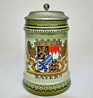 Vintage Original Gerzit Germany Lidded Beer Stein Mug Bayern Coat Of Arms EUC