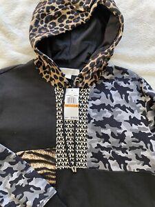 MICHAEL KORS MIXED-PRINT COTTON HOODIE Sweatshirt Leop logo prints Size Small