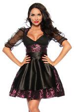 Dirndl 4-teilig Rock mit Schürze Corsage mit Schnürung Petticoat schwarz violett