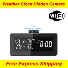 HD 1080P WiFi FM Clock Radio & Weather Station Rotatable Lens Hidden Spy Camera