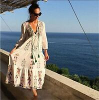 Women Hippie Mexican Floral Embroidered Deep V neck BOHO Ethnic Maxi DRESS Hkm1