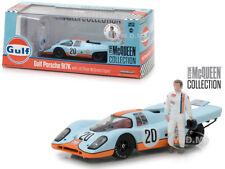 """1970 PORSCHE 917K """"GULF"""" #20 W/ STEVE MCQUEEN FIGURINE 1/43 BY GREENLIGHT 86435"""