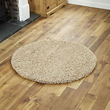 LARGE NEW LIGHT BEIGE SOFT NEW THICK PLAIN SHAGGY CIRCLE ROUND 133cm MODERN RUGS