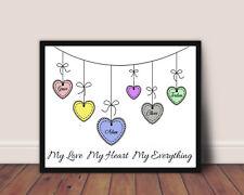 Impresión de la familia de Nombre Personalizado Amor Corazón Pared Arte regalo de imágenes A4 hasta 6 nombres