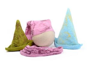 Set of three long baby hats in pastel colors, newborn photo props, studio props