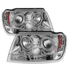 Jeep 99-04 Grand Cherokee Chrome Dual Halo LED Projector Headlight w/ Amber Lamp