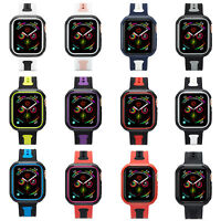 Silicone case For apple watch band 44mm 40mm  iwatch series 4 cover strap