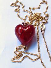 Red Italian Glass Heart.10k Yellow Gold Chain.