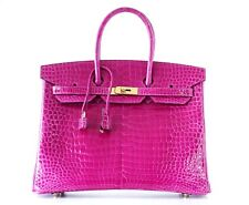 Hermes Birkin 35 Bag Rose Scheherazade Porosus Crocodile Gold Hardware