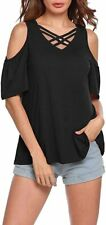 Karlywindow Womens Blouse Black Size Large L Criss Cross Cold Shoulder $29- 806