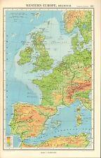 1952 MAP ~ WESTERN EUROPE PHYSICAL ~ BRITISH ISLES SPAIN FRANCE NORWAY GERMAN
