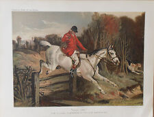 1876 Antique HORSE Print FOX HUNTING - FULL CRY Tom Clarke Old Berkshire Chromo