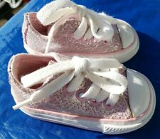CONVERSE ALL STAR Baby Toddler 2 Girl Light Pink Silver Foil Sparkly Low Shoes