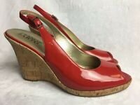 Franco Sarto Women's Size 9 M Heels Red Patent Leather Peep Toe Wedges Shoes