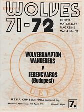WOLVERHAMPTON WANDERERS v FERENCVAROS ~ UEFA CUP SEMI FINAL 19 APRIL 1972 WOLVES