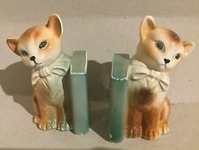 Pair of Pottery Cat Bookends - Weighted - Old-Looking