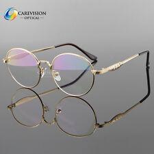 Vintage Gold Men Women Myopia Eyeglasses Plain Glass Clear Full-Rim Spectacles