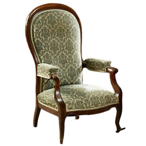 Antique ArmChair Recliner French, Louis Philippe High Back, Upholstered Fauteuil
