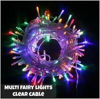 400 LED Multicoloured String Fairy Lights 8 Modes Mains Plug In Xmas Tree Decor