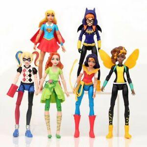 6PCS DC COMICS SUPER HERO GIRLS HARLEY POISON IVY BATGIRL BUMBLEBEE FIGURES TOY