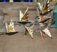 Vintage MCM Brass Tin Sculpture Birds Geese Ducks Wall Hanging Art Set Of 3
