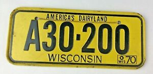 VINTAGE RARE 1970 Wisconsin POST CEREAL MINI MINIATURE BICYCLE LICENSE PLATE