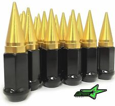 32  GOLD / BLACK SPIKED EXTENDED LUG NUTS 14x1.5 OFFROAD SPIKE LUG NUTS
