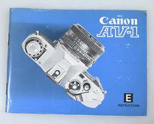 Canon Av-1 Original Manual English