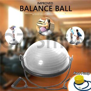 Pilates Bosu Balance Ball Gym Training Exercise Half Fitness w/ Pump & Band Yoga