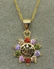 18K Gold Filled multi-color Crystal Allah  Pendent & Necklace   BFCA6