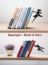 ARTORI Design Bookends Set Supergal Book & Hero Superhero Man & Women Lot Metal