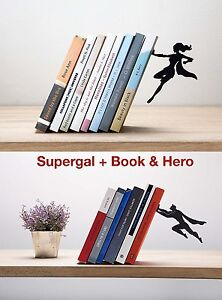 ARTORI Design Bookends Set Supergal Book & Hero Superhero Man & Women Lot Metal