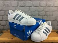ADIDAS OG MENS UK 7 1/2 EU 41 1/3 SUPERSTAR SHELL TOE WHITE DENIM BLUE TRAINERS