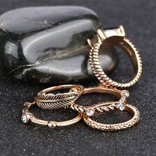 5pcs/set Women Gold Vintage Style Rings Leaves Rhinestone Decor Ring Set Jewelry