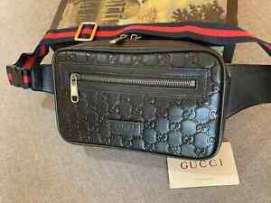 GUCCI Men's Belt Bag GG Leather belt bag Women Supreme GG Made in Italy Auth.