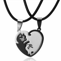 Jewelry Gift Stainless Steel Puzzle Matching Couple Necklace Cute Cat Pendant