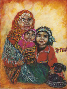 Sandy Austin Stein Madonna of Storytelling 8x10 Painting Native Americans
