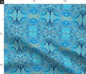 Love Blue Hearts Vines Art Nouveau Damask Vintage Spoonflower Fabric by the Yard